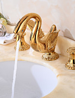 Widespread Widespread with  Brass Valve Two Handles Three Holes for  Gold , Bathroom Sink Faucet