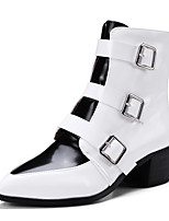 Women's Shoes Leatherette Fall Winter Fashion Boots Bootie Boots Chunky Heel Pointed Toe Booties/Ankle Boots Buckle Zipper For Casual