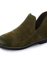 Feminino Sapatos Couro Ecológico Outono Inverno Conforto Curta/Ankle Botas Rasteiro Ponta Redonda Botas Curtas / Ankle Ziper Para Casual