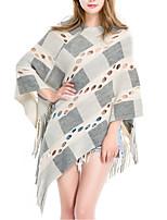 Women Wool Acrylic Rectangle Plaid Spring Fall