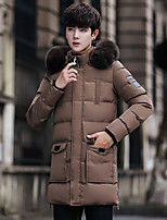 Men's Long Padded Coat,Simple Going out Casual/Daily Solid-Polyester Polyester Long Sleeves