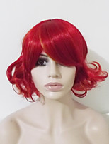 Women Synthetic Wig Capless Short Wavy Deep Wave Red Highlighted/Balayage Hair Middle Part Layered Haircut Party Wig Halloween Wig