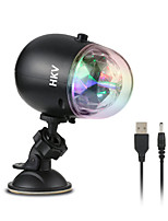 HKV® 3W Mini Auto Car Disco DJ Stage Effect Light 3 LED RGB Crystal Ball Lamp USB Rechargeable Party Bar Automobile Interior Outdoor DC 5V