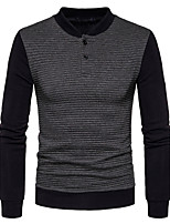 Men's Going out Casual/Daily Simple Sweatshirt Color Block V Neck Micro-elastic Cotton Long Sleeve Spring Fall