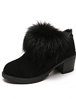 Mujer Zapatos Tejido Otoño Invierno Confort Botas Tacón Bajo Botines/Hasta el Tobillo Para Casual Negro Verde