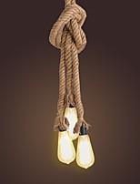 2m 3 capi della corda di canapa della lampada del soffitto della lampada del soffitto del diy stile industriale dell'annata per il