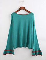 Women's Casual/Daily Vintage Fall T-shirt,Solid Round Neck Long Sleeves Cotton Thin