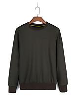 Sweatshirt Homme Décontracté / Quotidien Couleur Pleine Col Arrondi Micro-élastique Coton Manches longues Hiver