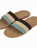 Men's Slippers & Flip-Flops Comfort Summer Fall Linen Casual Split Joint Flat Heel Red Brown Flat