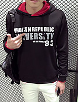 Men's Casual/Daily Hoodie Letter Hooded Micro-elastic Cotton Polyester Long Sleeve Fall