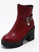 Femme Chaussures Similicuir Automne Hiver Bottes à la Mode Botillons boîtes de Combat Bottes Gros Talon Plateforme Bout rond Imitation