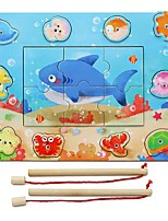 DIY KIT Building Blocks Educational Toy Jigsaw Puzzle Wooden Puzzles Fishing Toys Toys Rectangular Square Fish Pieces Boys Girls Gift