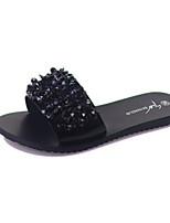 Damen Schuhe PU Frühling Sommer Komfort Slippers & Flip-Flops Niedriger Absatz Für Normal Schwarz Grau