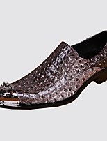 Men's Shoes Nappa Leather Spring Fall Comfort Novelty Loafers & Slip-Ons Rivet For Wedding Party & Evening Gray