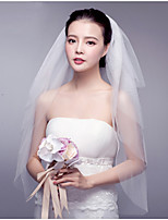 Wedding Veil Four-tier Blusher Veils Fingertip Veils Cut Edge Lace Applique Edge Tulle