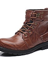 Men's Shoes Real Leather Cowhide Fall Winter Fashion Boots Motorcycle Boots Bootie Combat Boots Boots Booties/Ankle Boots Lace-up For
