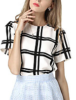 Women's Going out Casual/Daily Simple Cute Summer Fall Shirt,Print Round Neck Short Sleeves Polyester Medium