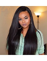Women Human Hair Lace Wig Brazilian Human Hair 360 Frontal 130% Density With Baby Hair 360° Frontal Yaki Wig Black Short Medium Long For