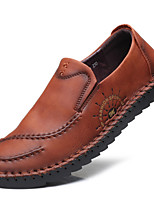 Men's Shoes Leather Summer Fall Driving Shoes Comfort Loafers & Slip-Ons For Casual Outdoor Light Brown