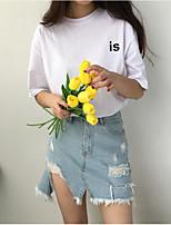 Для женщин На каждый день Лето Футболка Круглый вырез,Простое Однотонный Буквы С короткими рукавами,Хлопок