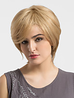 Women Human Hair Capless Wigs Medium Auburn/Bleach Blonde Short Straight African American Wig For Black Women