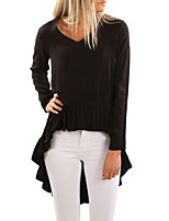 Women's Holiday Going out Cute Fall T-shirt,Solid V Neck Long Sleeves Polyester Spandex Medium