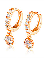 Women's Drop Earrings Rhinestone AAA Cubic Zirconia Classic Elegant Rhinestone Titanium Steel Circle Jewelry For Wedding Evening Party