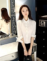 Women's Going out Chinoiserie Shirt,Solid Peter Pan Collar Half Sleeves Rayon