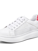 Women's Shoes Breathable Mesh Synthetic Summer Fall Comfort Sneakers Flat Heel Round Toe Lace-up For Casual Outdoor Red Sliver Black