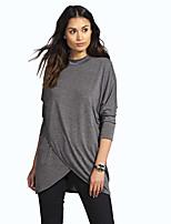 Tee-shirt Femme,Couleur Pleine Vacances Décontracté / Quotidien simple Chic de Rue Automne Manches Longues Col Ras du Cou Polyester