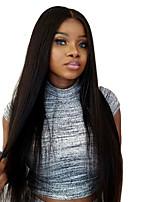 Donna Parrucche di capelli umani con retina Indiano Remy Senza colla e con tulle frontale 130% Densità Con ciuffetti Lisci Parrucca Nero