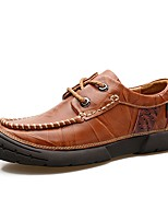 Men's Shoes Real Leather PU Leather Spring Fall Moccasin Driving Shoes Comfort Light Soles Oxfords For Casual Office & Career Brown Black