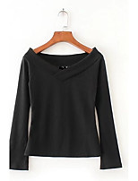 Women's Going out Casual/Daily Sexy Simple Street chic Spring Fall T-shirt,Solid V Neck Long Sleeves Cotton Others Thin Medium