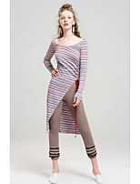 Women's Going out Sheath Dress,Striped Round Neck Midi Long Sleeves Polyester Fall Mid Rise Micro-elastic Medium