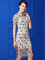 Fodero Vestito Da donna-Casual Semplice Fantasia floreale Colletto alla coreana Al ginocchio Manica corta Poliestere Estate A vita