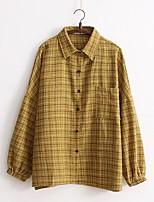 Для женщин На выход На каждый день Весна Осень Рубашка Рубашечный воротник,Простое Очаровательный Уличный стиль Гусиная лапка Длинный