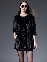 Women's Going out Casual/Daily Simple Fall Winter Fur Coat,Solid Round Neck ¾ Sleeve Long Faux Fur Acrylic