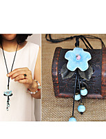 Women's Pendant Necklaces Flower Alloy Handmade Fashion Jewelry For Gift Daily