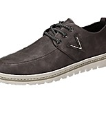 Men's Oxfords Comfort Spring Fall PU Casual Lace-up Flat Heel Khaki Coffee Black Flat