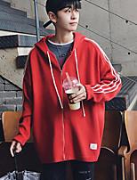 Standard Cardigan Da uomo-Casual Monocolore Con cappuccio Manica lunga Altro Inverno Medio spessore Media elasticità
