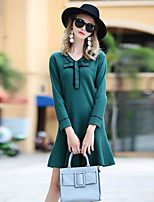 BLUEOXY Women's Going out Casual/Daily Loose Dress,Solid V Neck Above Knee Long Sleeves Rayon Polyester Others Fall Winter High Rise Micro-elastic