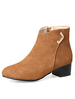 Women's Shoes Leatherette Fall Winter Fashion Boots Bootie Boots Chunky Heel Round Toe Booties/Ankle Boots Zipper For Casual Dress Almond
