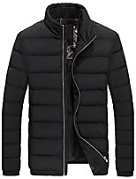 Men's Regular Down Coat,Simple Going out Casual/Daily Solid-Cotton Polypropylene Long Sleeves