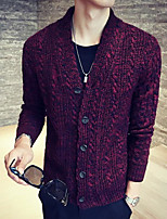 Men's Going out Regular Cardigan,Color Block Round Neck Long Sleeves Others Winter Medium Micro-elastic