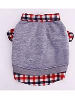 Dog Sweatshirt Dog Clothes Casual/Daily Plaid/Check Gray Dark Blue