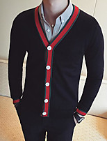 Men's Casual/Daily Street chic Regular Cardigan,Color Block V Neck Long Sleeves Others Spring Fall Medium Micro-elastic