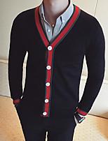 Men's Casual/Daily Street chic Regular Cardigan,Color Block V Neck Long Sleeves Others Spring Fall Medium Micro-elastic