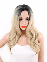 Damen Synthetische Perücken Kappenlos Lang Wellig Natürlich gewellt Blond Gefärbte Haarspitzen (Ombré Hair) Dunkler Haaransatz