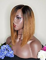 Недорогие -Remy Лента спереди Парик Бразильские волосы Прямой Стрижка боб 130% плотность 100% девственница Средние Жен. Парики из натуральных волос