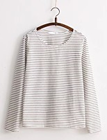 Women's Going out Casual/Daily Sexy Simple Street chic Spring Fall T-shirt,Striped Round Neck Long Sleeves Cotton Others Thin Medium